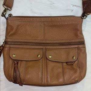FOSSIL Morgan Top Zip Leather Traveler bag Brown
